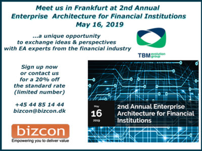 Meet us in Frankfurt at 2nd Annual Enterprise Architecture for Financial Institutions May 16, 2019
